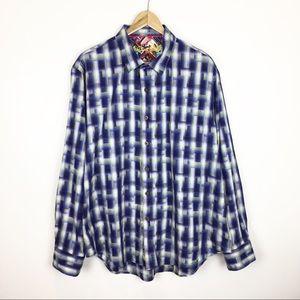 Men's Robert Graham Shirt 2XL Button Blue Plaid
